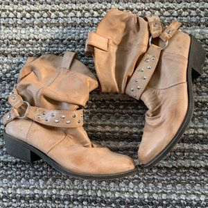 Slouchy Ankle Boot Studded Strap